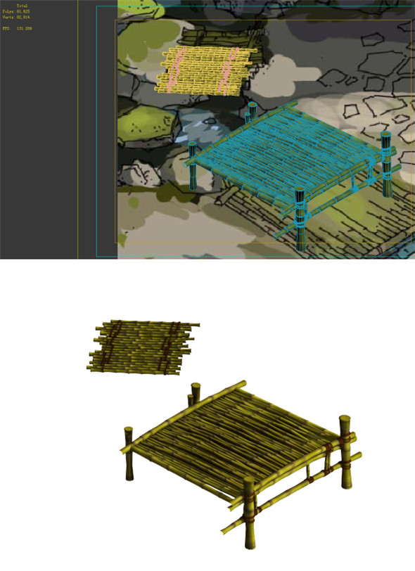 Game Model - Campanula Island scene - bamboo bridge 01 - 3DOcean Item for Sale