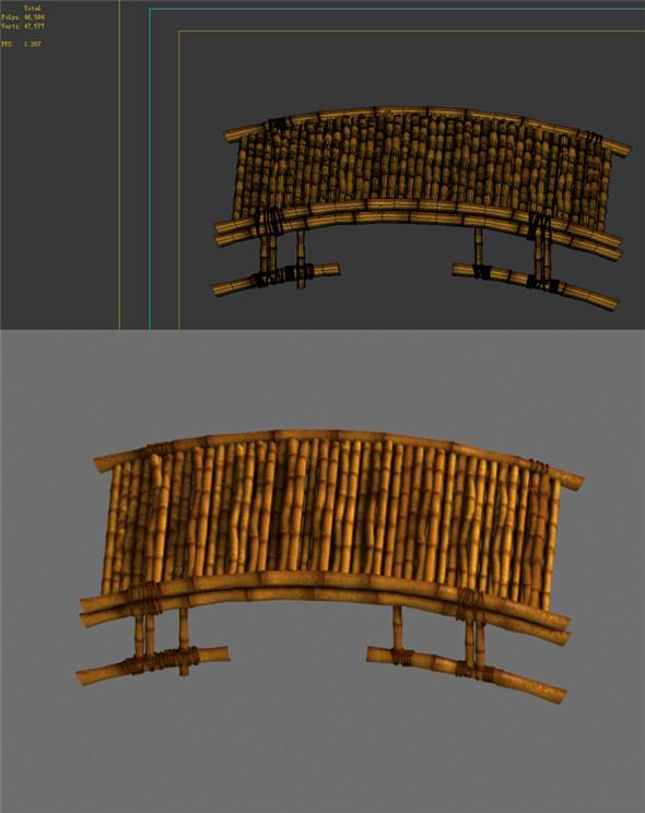 Game Model - Campanula Island scene - bamboo bridge built 01 - 3DOcean Item for Sale