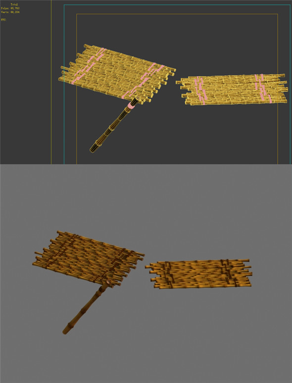 Game Model - Campanula Island scene - bamboo structures plates 01 - 3DOcean Item for Sale