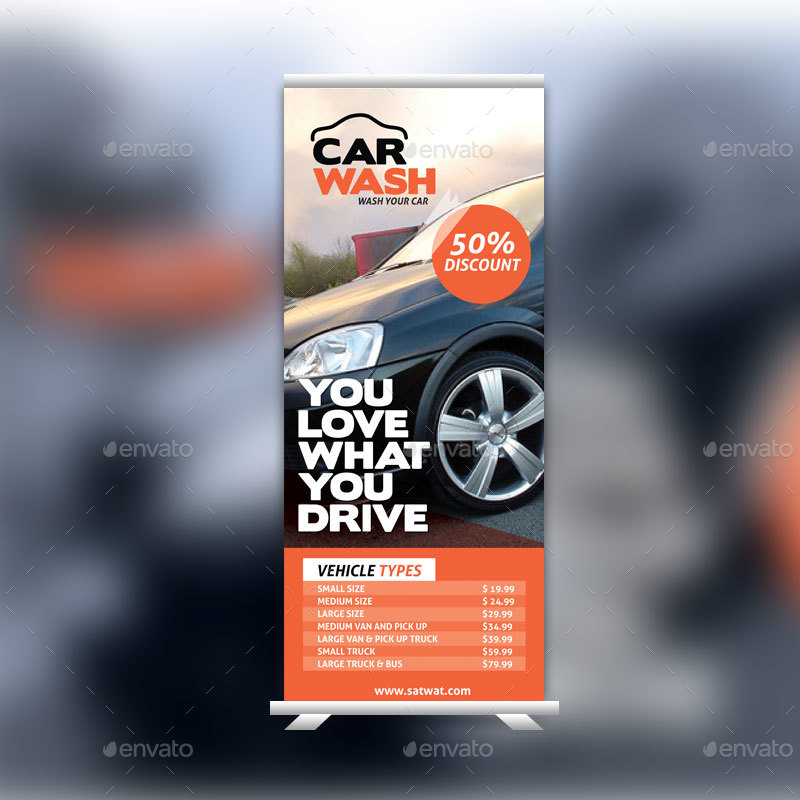 Car Wash Roll Up Banner