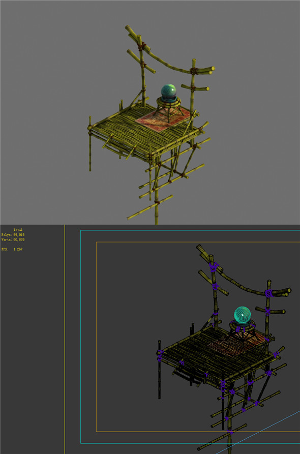 Game Model - Campanula Island scene - bamboo structures Watchtower 01 - 3DOcean Item for Sale