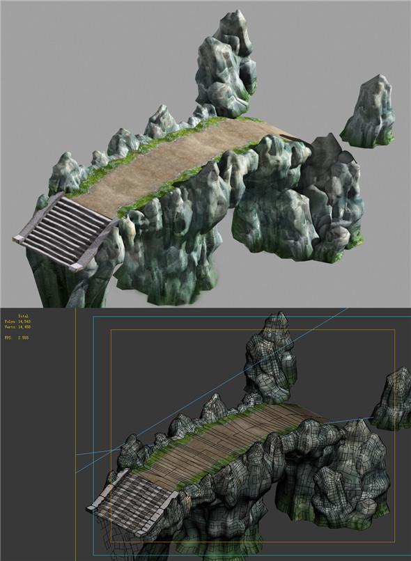 Game Model - Campanula Island scene - mountain stone road 01 - 3DOcean Item for Sale