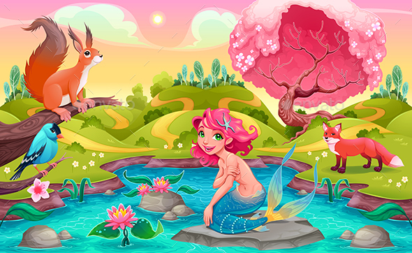 Fantasy Scene with Mermaid and Animals - Animals Characters