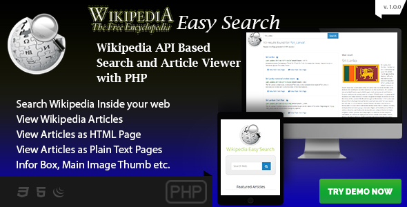 Wikipedia Easy Search - Wikipedia API Based PHP Script - CodeCanyon Item for Sale