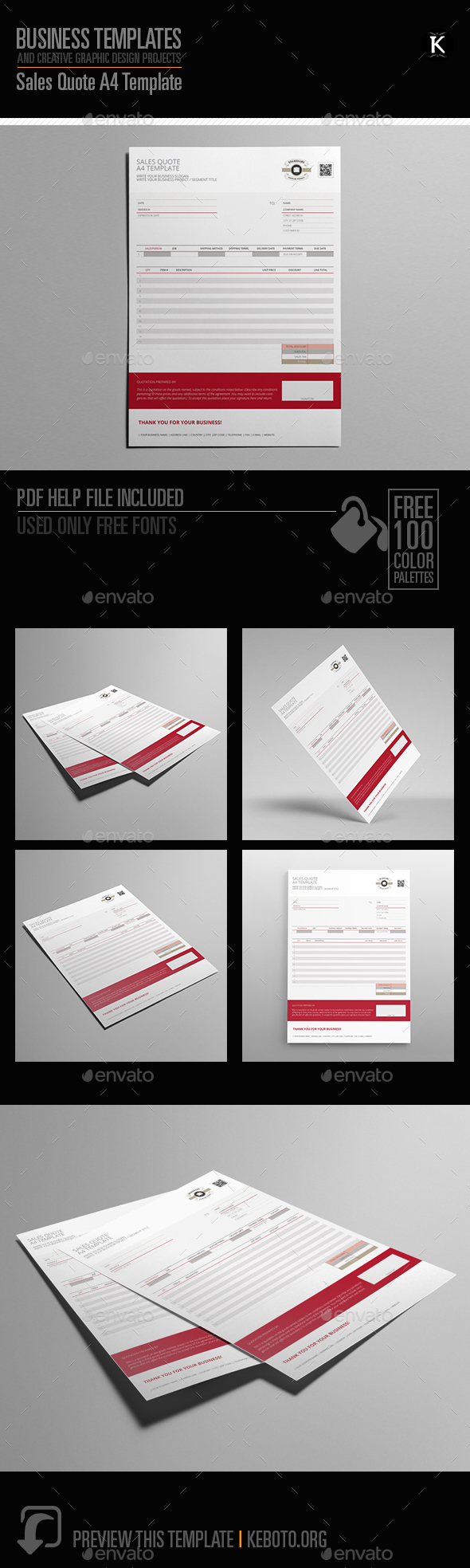 Sales Quote A4 Template by Keboto | GraphicRiver