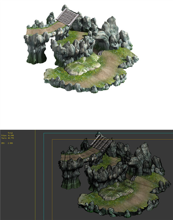 Game Model - Campanula Island scene - mountain stone road 02 01 - 3DOcean Item for Sale