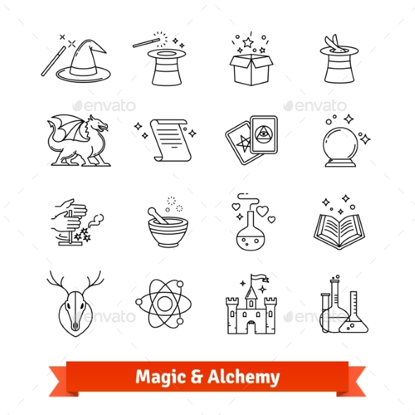 Magic and Alchemy Thin Line Art Icons Set - Objects Icons
