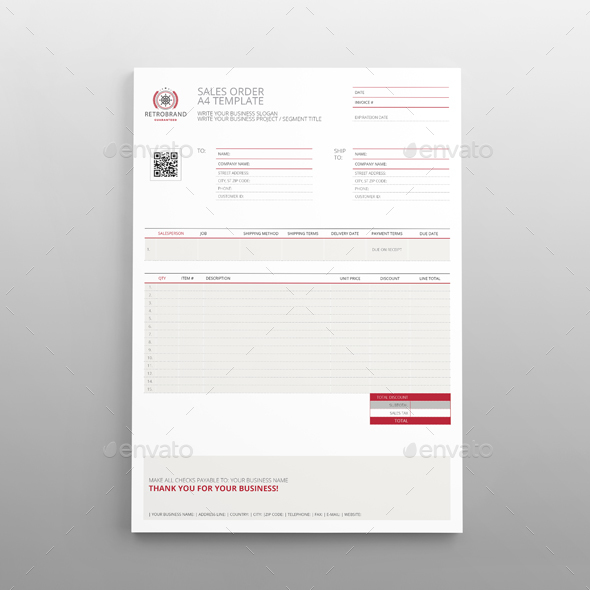 Sales Order A4 Template By Keboto | Graphicriver