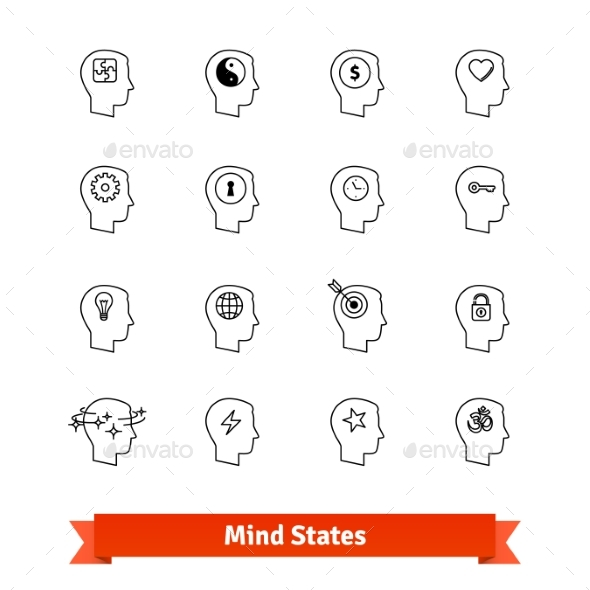 Mind States Thin Line Art Icons Set - People Characters