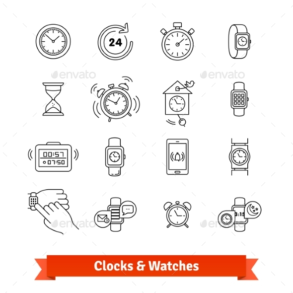 Clocks and Watches. Thin Line Art Icons Set - Objects Icons