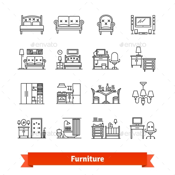 Furniture and Home Decor Thin Line Art Icons Set - Man-made Objects Objects