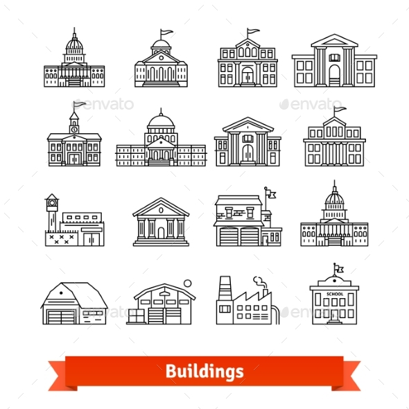 Government and Educational Public Building Set - Buildings Objects