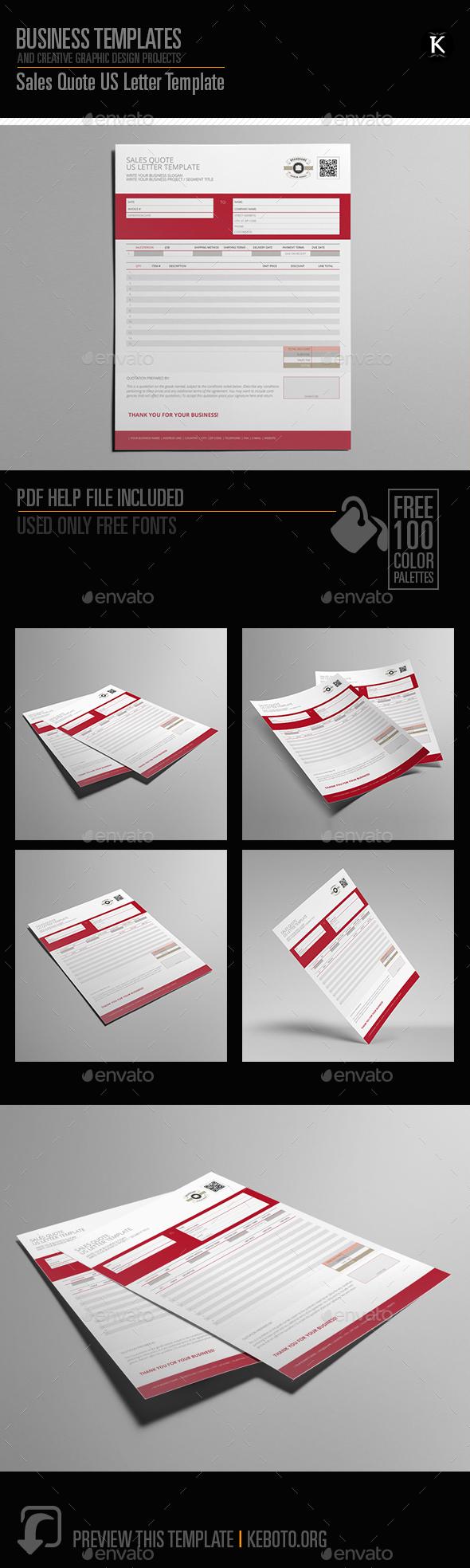 Sales Quote US Letter Template - Miscellaneous Print Templates