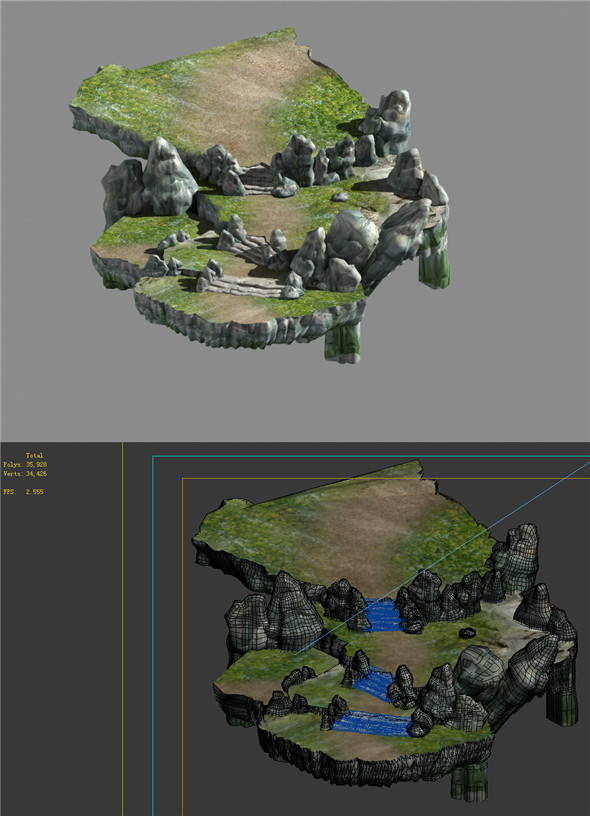 Game Model - Campanula Island scene - mountain stone road 03 01 - 3DOcean Item for Sale