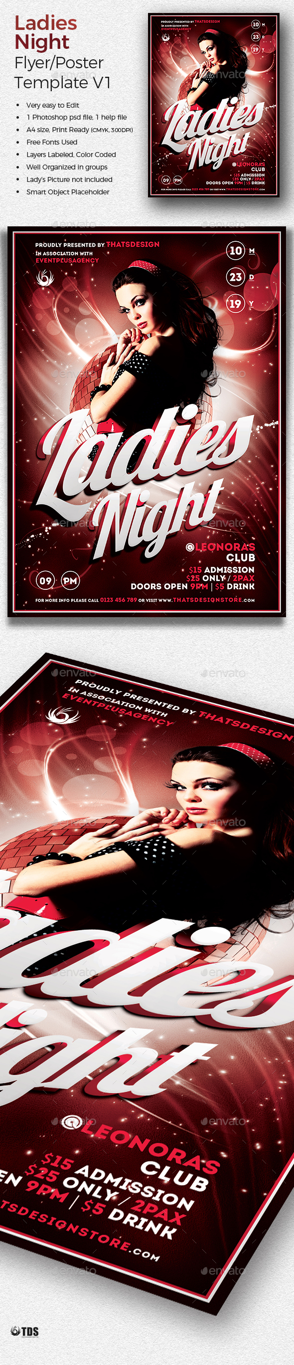 Ladies Night Flyer template V1 - Print Templates