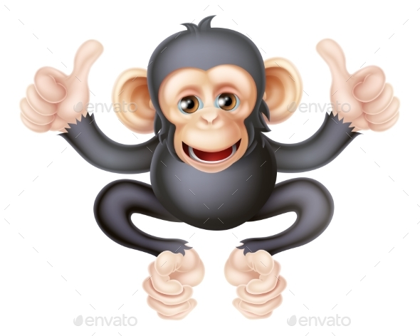 Thumbs Up Chimp Monkey - Animals Characters