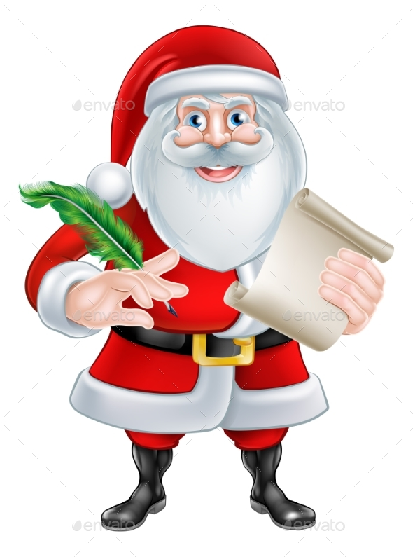 Santa Holding Scroll and Quill - Christmas Seasons/Holidays