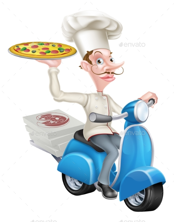 Pizza Delivery Chef on Moped - Food Objects