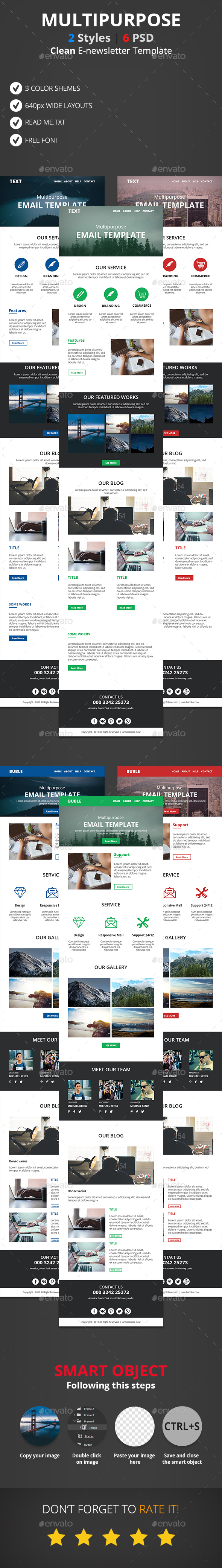 Clean Multipurpose E-newsletter Template - E-newsletters Web Elements