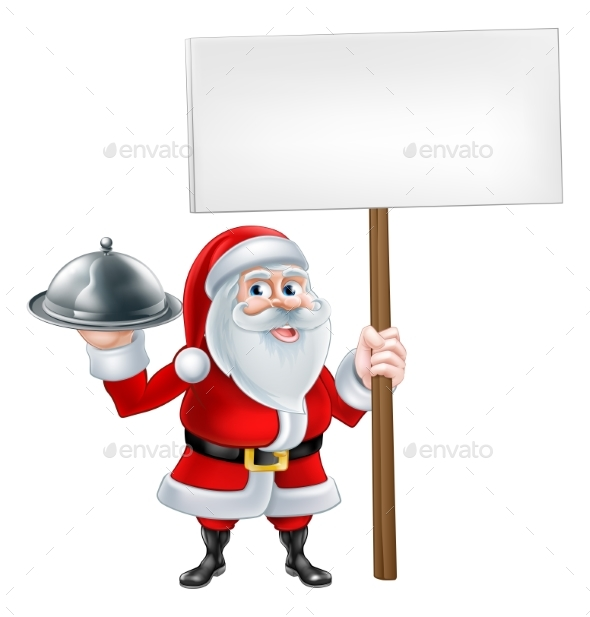 Cartoon Santa Holding Platter Sign - Food Objects