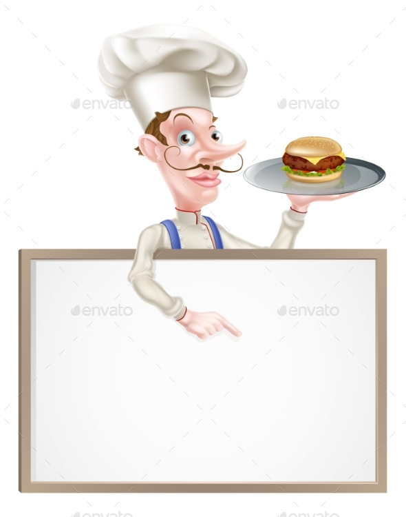 Burger Chef Pointing at Sign - Food Objects
