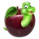 Cartoon Caterpillar in Apple