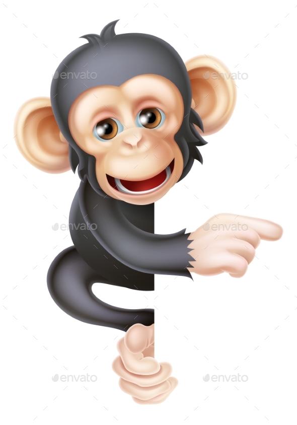 Cartoon Chimp Monkey Pointing - Animals Characters