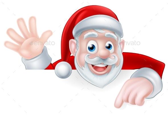 Santa Claus Peeking Over Sign - Christmas Seasons/Holidays