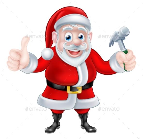 Cartoon Santa Giving Thumbs Up and Holding Hammer - Christmas Seasons/Holidays