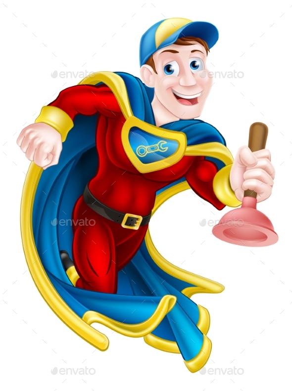 Superhero Plunger Man - People Characters