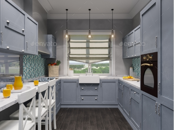 3d Illustration of the Interior Design Kitchen - Architecture 3D Renders