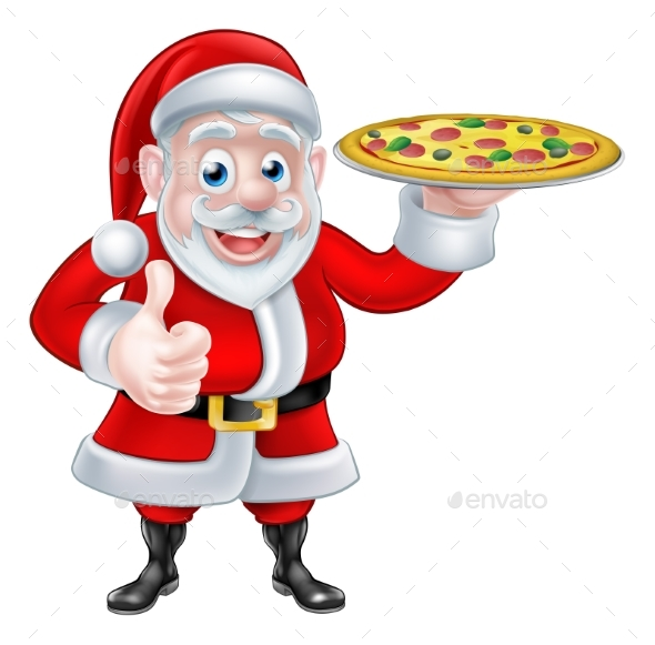 Santa with Pizza - Food Objects