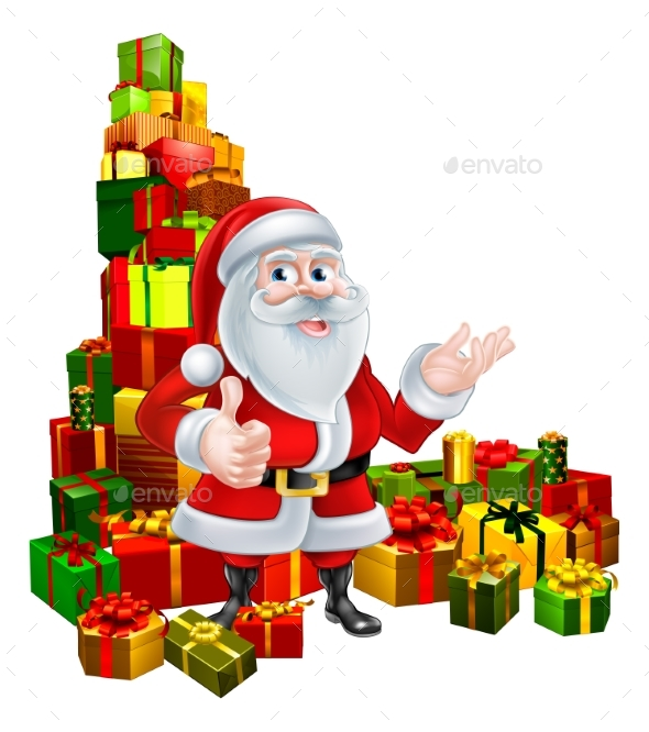 Christmas Santa and Gifts - Christmas Seasons/Holidays