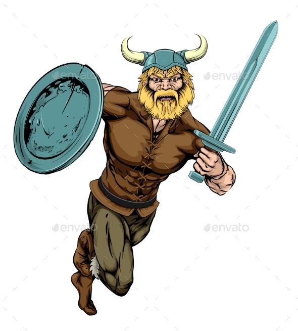 Viking Sword Warrior Mascot - Miscellaneous Vectors