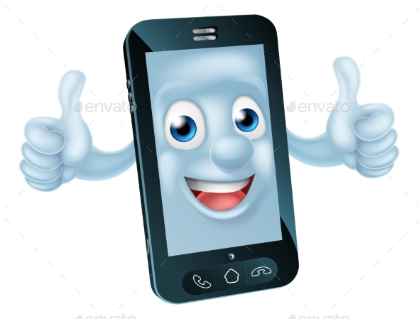 Cartoon Mobile Phone Character - Miscellaneous Vectors