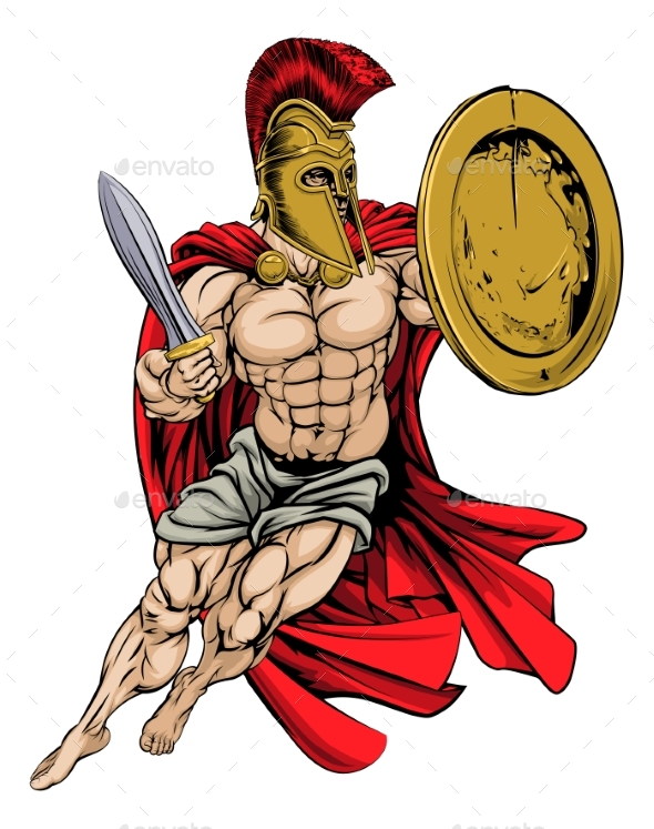 Red Caped Greek Warrior - People Characters