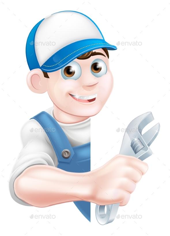 Plumber Mechanic Cartoon Man - People Characters