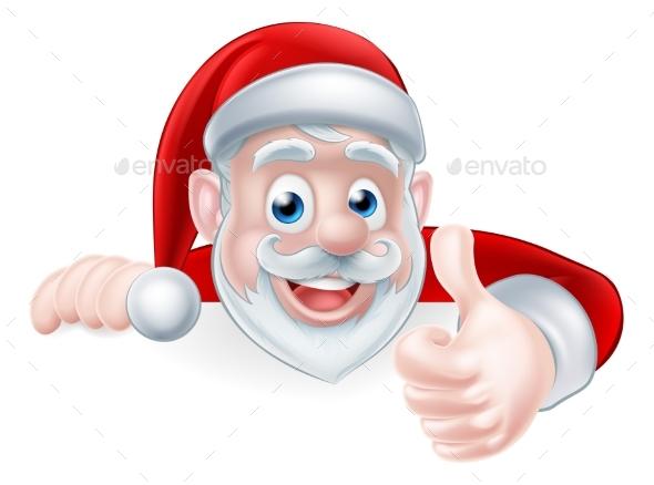 Santa Above Sign Thumbs Up - Christmas Seasons/Holidays
