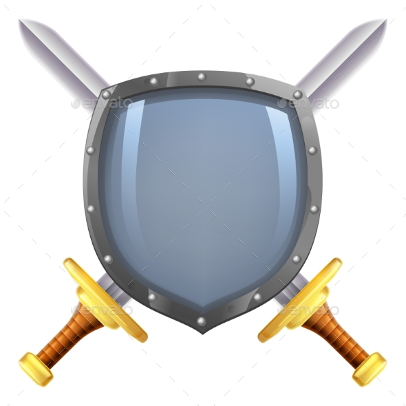 Crossed Swords Shield - Decorative Symbols Decorative