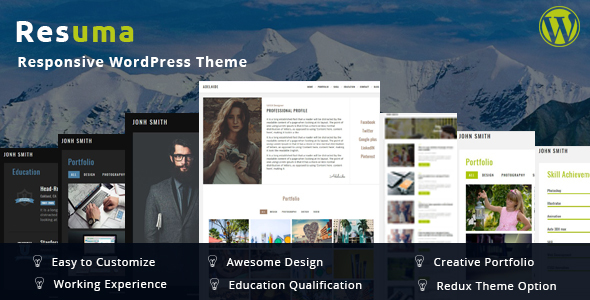 Resuma  - Resume Portfolio Responsive WordPress Theme - Creative WordPress