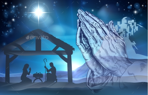 Praying Hands Nativity Scene - Religion Conceptual