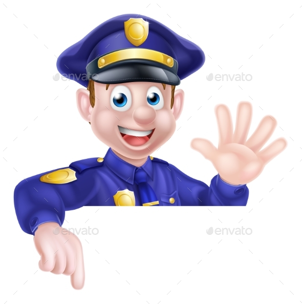 Cartoon Policeman Pointing - People Characters