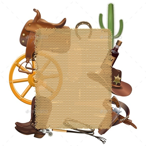 Cowboy Sackcloth Frame - Miscellaneous Vectors