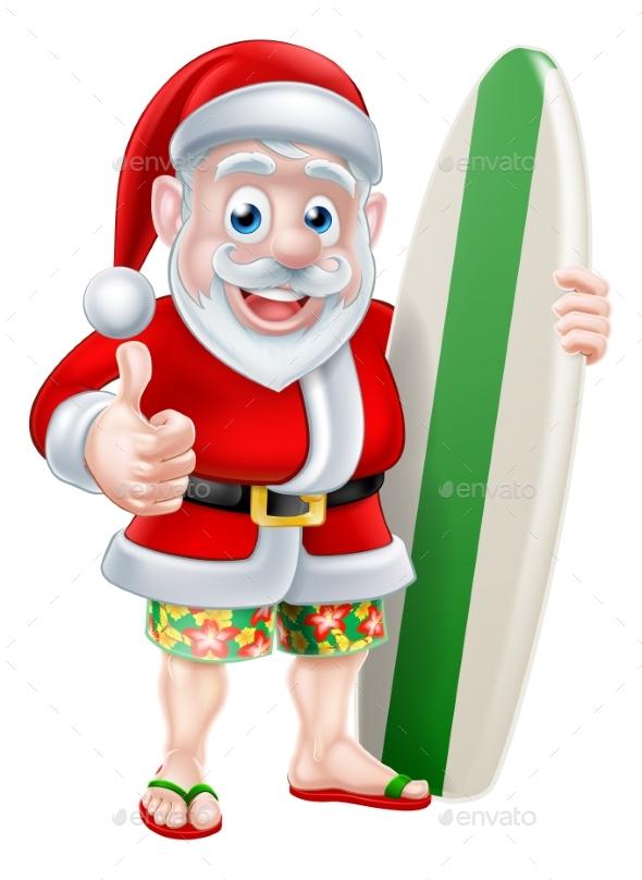 Surfing Santa - Christmas Seasons/Holidays