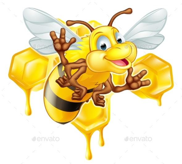 Cartoon Bee and Honey - Animals Characters