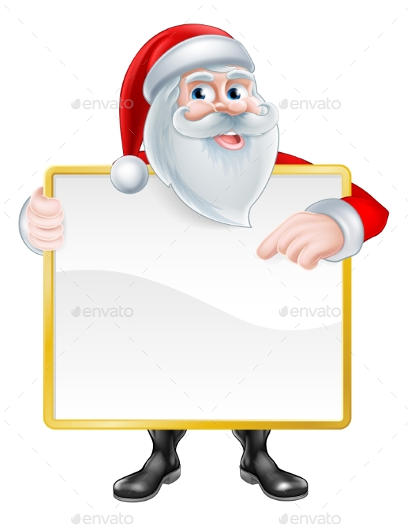 Santa Holding Sign - Christmas Seasons/Holidays