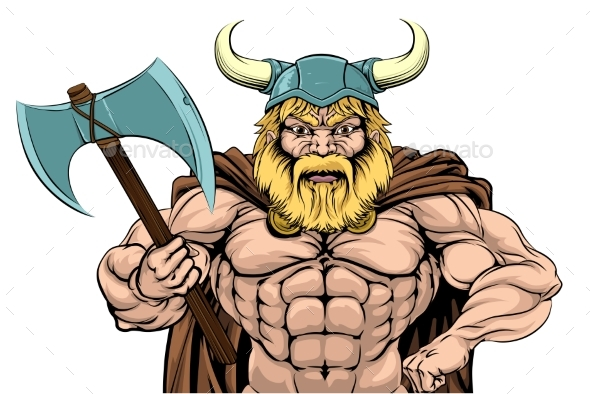 Viking Warrior Holding Axe - People Characters
