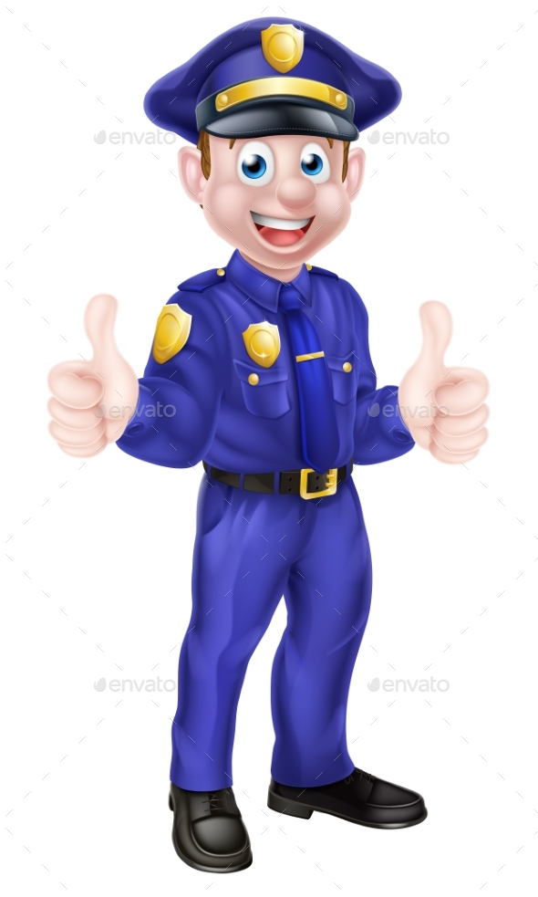 Cartoon Policeman Giving Thumbs Up - People Characters