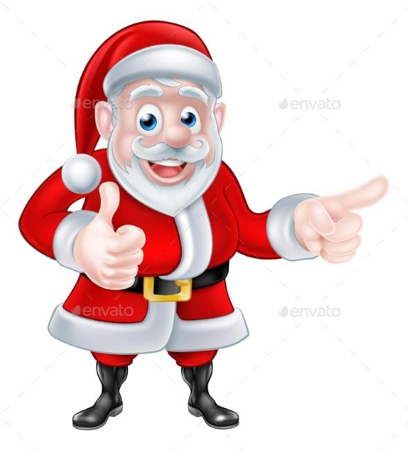 Santa Pointing Thumbs Up - Christmas Seasons/Holidays