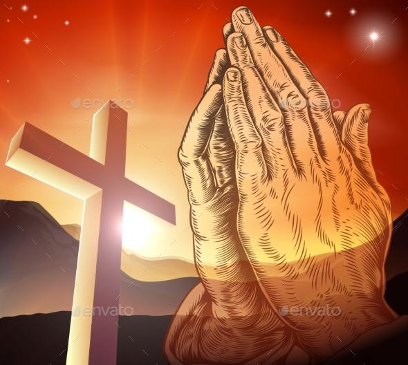 Christian Cross Praying Hands - Religion Conceptual